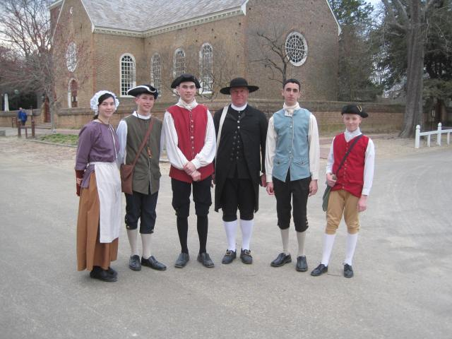 "Elder John Leland with some folks - ""properly dressed!"" from Penns Woods as we visit along Duke of Gloucester Street, Williamsburg, VA"